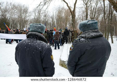 ROSTOV-ON-DON, RUSSIA â�� JANUARY 26: The police keeps order â�� rally of the Cossacks under the slogan �«Cossacks â�� People�», January 26, 2013 in Rostov-on-Don, Russia