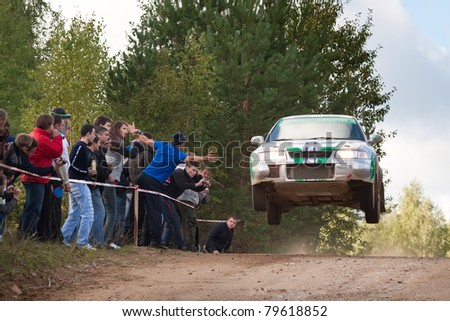 ROSTOV, RUSSIA - SEPTEMBER 05: Uriy Ivanov drives a  Mitsubishi Lancer  car during Rostov Velikiy Russian rally championship on September 05, 2010 in Rostov, Russia.