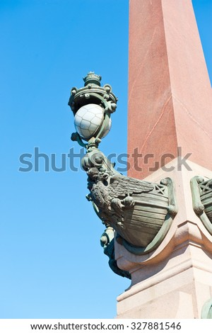 Rostral Columns of Trinity Bridge in Saint Petersburg, Russia