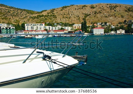 Rostrum of the motorboat - stock photo