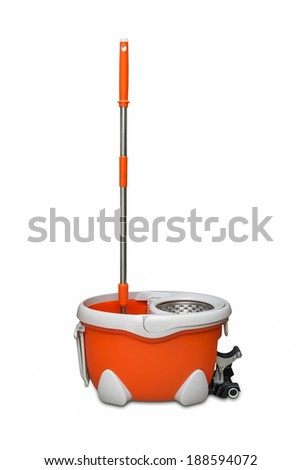 Rotary mop and bucket is isolated on white - stock photo