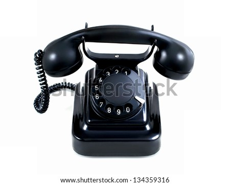 Rotary telephone isolated on a white background - stock photo