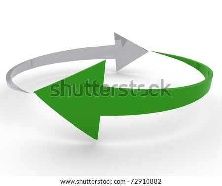 rotate arrow on white background - stock photo