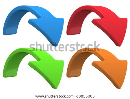 rotate the blue arrow on white background - stock photo