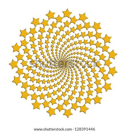 Rotating gold stars over white background - stock photo