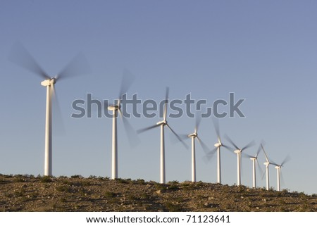Rotating Propellers of Wind Turbines, Palm Springs,  CA - stock photo