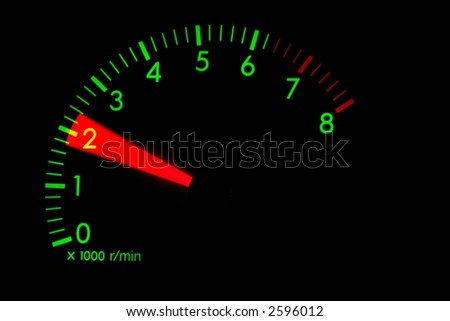 Rotation meter of a car engine glowing green