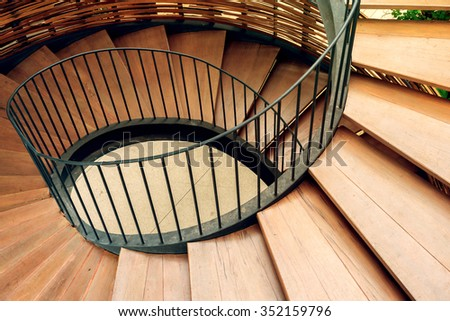 Rotation of spiral stairs - stock photo