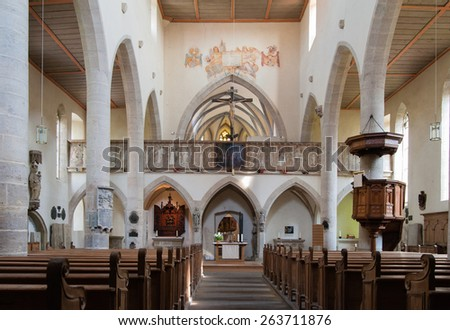 ROTHENBURG / GERMANY - JUNE 02, 2015; St. James's church interior.