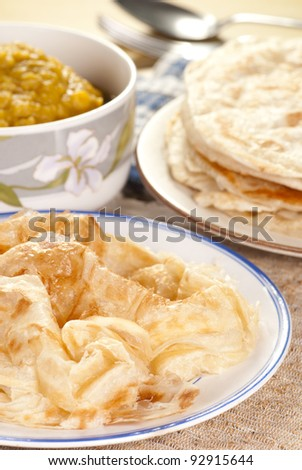 Roti Canai with Lentil Curry. Unsharpened file