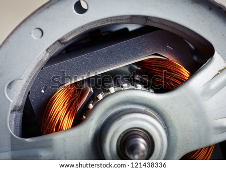 Rotor of electric motor close-up - stock photo
