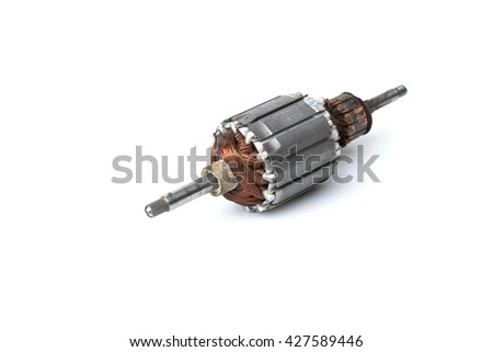 Rotor of electric motor close-up, isolated on white background - stock photo