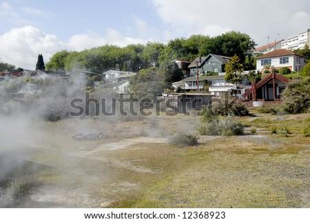 Rotorua town scene - New Zealand - stock photo
