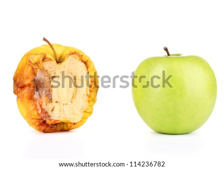 rotten apple and fresh apple as concept of skin problems, isolated on white - stock photo