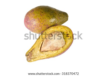 rotten avocado on white background with clipping paths - stock photo