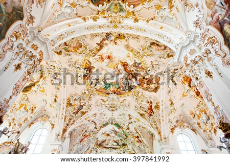 ROTTENBUCH, GERMANY - JUNE 18: Ceiling of the Rottenbuch Abbey church (Kloster Rottenbuch) in romanesque style on june 18, 2013 in Rottenbuch, Germany.