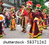 ROTTERDAM, HOLLAND - JULY 31: Peruvian dancers at the parade of the annual Summer Carnival in Rotterdam on July 31, 2010 in Rotterdam, Holland - stock photo