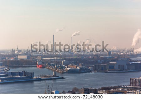 Rotterdam Industrial area. harm to the environment. View from Euromast tower. - stock photo