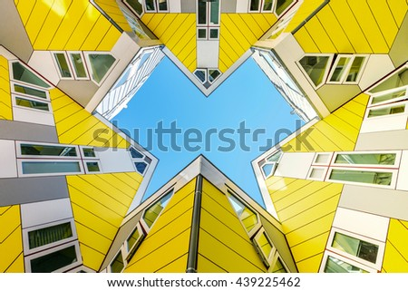 ROTTERDAM 6 June 2016 - Up view of the Cubic houses with details on the windows architecture  - stock photo