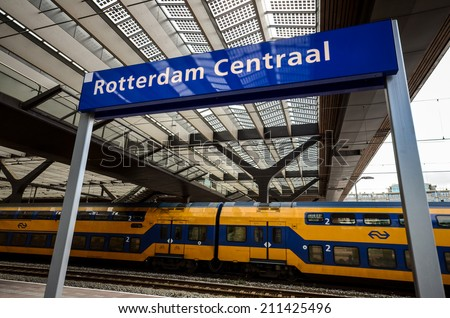 ROTTERDAM, NETHERLANDS - August 13, 2014: Downtown Rotterdam, Netherland's second largest city with the upgraded and modern Central Station, taken on August 13, 2014 in Rotterdam, Netherlands.