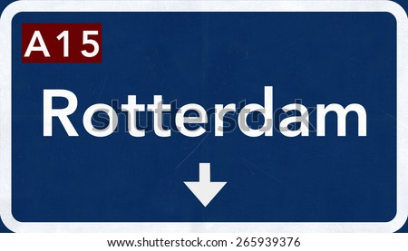 Rotterdam Netherlands Highway Road Sign - stock photo