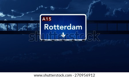 Rotterdam Netherlands Highway Road Sign at Night 3D artwork - stock photo