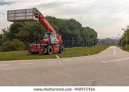 ROTTERDAM, NETHERLANDS - JULY 7, 2016: Electrical truck service - stock photo