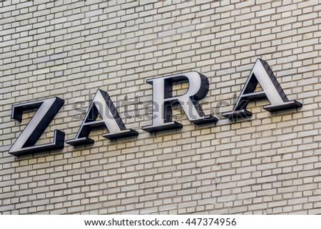 ROTTERDAM, NETHERLANDS, July 2, 2016, Zara logo 3D letters.