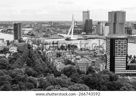 Rotterdam, Netherlands - June 29: Cityscape from the Euromast tower in Rotterdam, Netherlands on June 29, 2014.