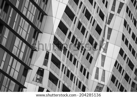 ROTTERDAM, NETHERLANDS - JUNE 28: Modern architecture in Rotterdam, the architectural capital of the Netherlands on June 28, 2014.