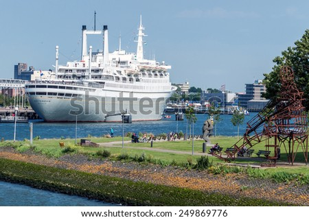Rotterdam, Netherlands - June 21st, 2014: The SS Rotterdam V, the biggest passenger-ship ever constructed by the Netherlands themselves from 1959. The ship is used as museum and hotel - stock photo