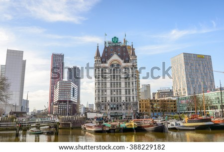 Rotterdam, Netherlands - March 5, 2016: Oudehaven in the centre of Rotterdam which is a city defined by modern architecture. - stock photo