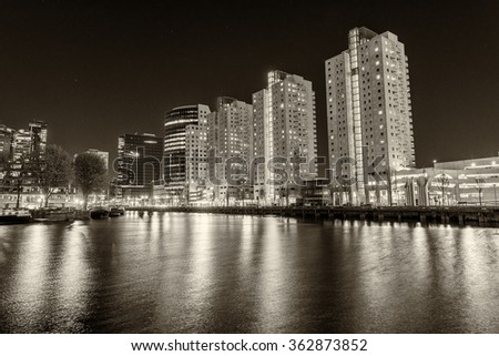 Rotterdam, Netherlands. Modern night city skyline. - stock photo
