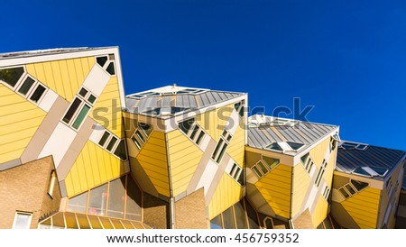 ROTTERDAM, NETHERLANDS - 8 November, 2014 : Cube houses or Kubuswoningen in Dutch are a set of innovative houses designed by architect Piet Blom and built in Rotterdam, the Netherlands.