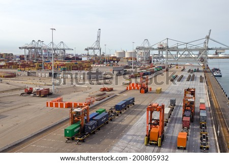 ROTTERDAM - SEP 8: Container terminal and cranes on Sep 8, 2013 in Rotterdam, Netherlands. The port is the largest in Europe and facilitate the needs of a hinterland with 40,000,000 consumers.  - stock photo