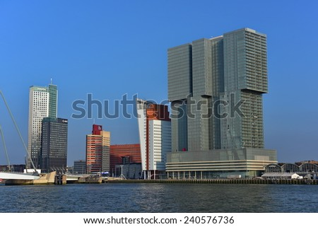 ROTTERDAM - SEPTEMBER 17:  Skyscrappers on the Wilhelminakade in Rotterdam, taken on September 17, 2014 in Rotterdam, Netherlands - stock photo