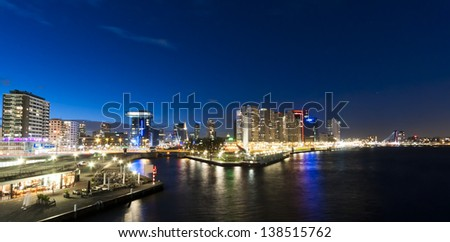 Rotterdam skyline at night - stock photo