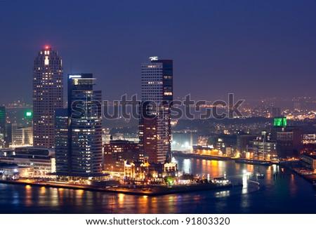Rotterdam skyline at night - stock photo