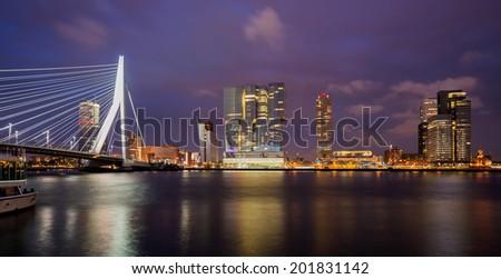 Rotterdam Skyline at Night, The Netherlands - stock photo