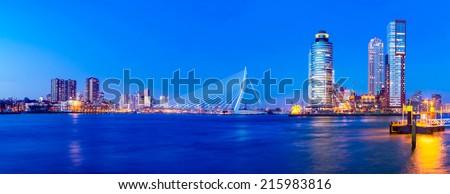 Rotterdam Skyline Panorama with Erasmus Bridge at Twilight, The Netherlands - stock photo