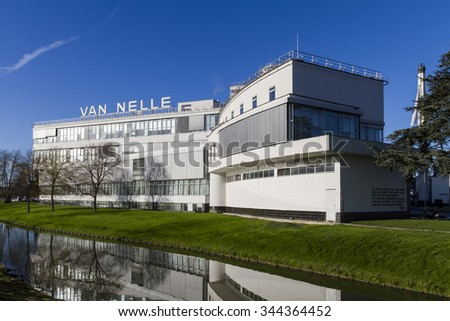 ROTTERDAM, THE NETHERLANDS - NOVEMBER 26 2015: The former Van Nelle Factory on the Schie river, is considered a prime example of the International Style. It is a designated UNESCO World Heritage Site.