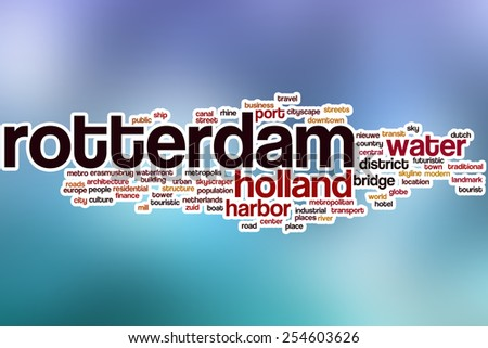 Rotterdam word cloud concept with abstract background - stock photo