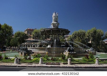 Rotunda Fountain in Aix en Provence, France - stock photo
