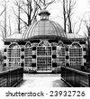 Rotunda in Black-and-white, Peterhof palace garden, winter time - stock photo