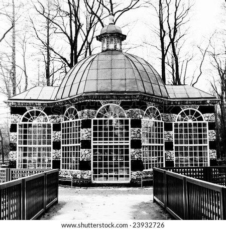 Rotunda in Black-and-white, Peterhof palace garden, winter time