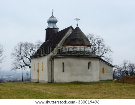 Rotunda in Goryany, medieval church in Uzhhorod town,unesco heritage and one of the oldest temples in Ukraine - stock photo