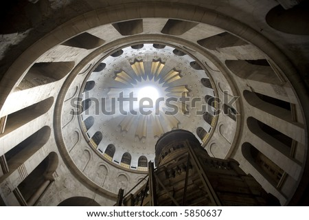 Rotunda of Church of the Holy Sepulcher, Jerusalem - stock photo