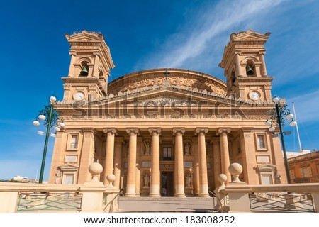 Rotunda of Mosta or Rotunda of St Marija Assunta (The Mosta Dome), Mosta, Malta - stock photo