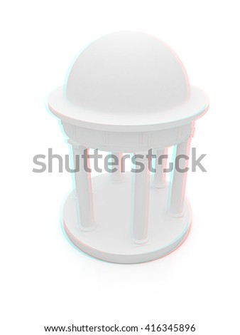 Rotunda on a white background . 3D illustration. Anaglyph. View with red/cyan glasses to see in 3D.