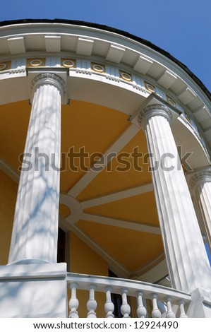 Rotunda with white columns, view from below